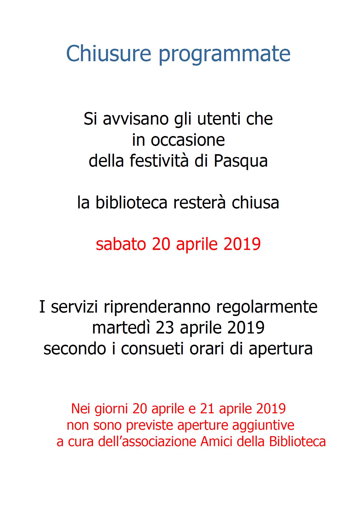 chiusura di Pasqua