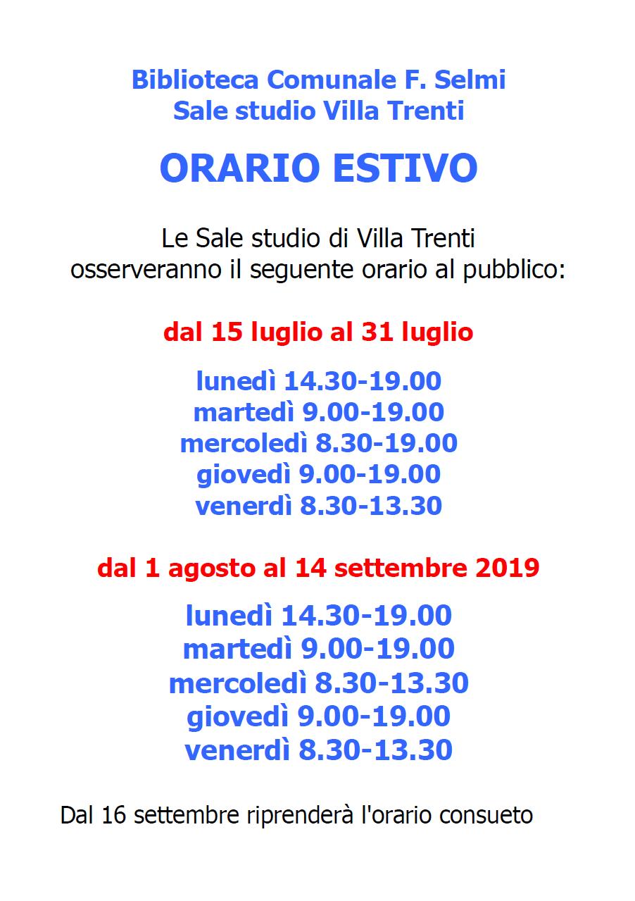 orario estivo 2019 Villa Trenti